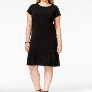 Michael Kors Plus Size Cap-Sleeve Pleated-F Black